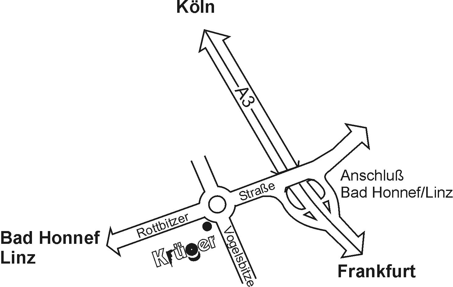Anfahrt Fa. Krüger GmbH Bad Honnef